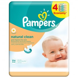 Servetele umede PAMPERS Natural Clean, 4 x 64 buc