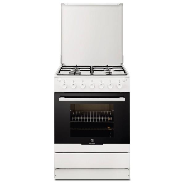 Aragaz ELECTROLUX EKG61102OW, 4 zone de gatit, gaz, grill, rotisor, alb