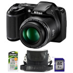 Camera foto digitala NIKON Coolpix L340, 20 Mp, 28x, 3 inch, negru + geanta + incarcator + card 8GB