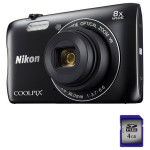 Camera foto digitala NIKON Coolpix S3700, 20.1 Mp, 8x, 2.7 inch, negru + card SD 4GB